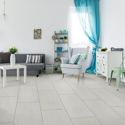 Verzino titanium tile in living area | Independent Floor Covering